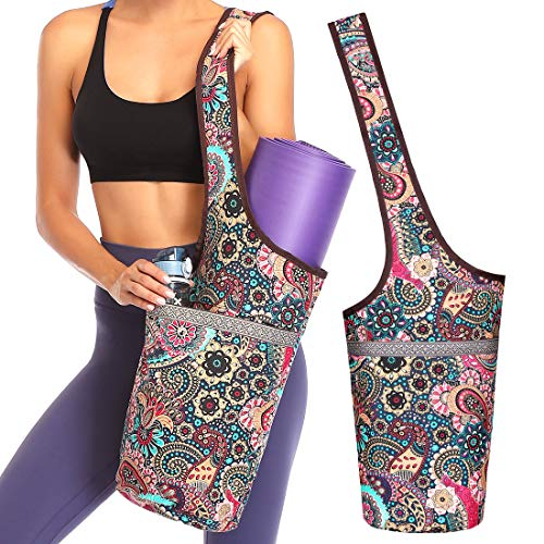 Soogus Yoga Mat Bag, Cotton Canvas Yoga Bags and Carriers for Women Sling Totes Bag for Mat Large Yoga Pilates Bag Zip with Pockets Fits Everything Floral Print Pattern