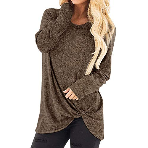 Toimothcn Women Solid Long Sleeve T-Shirt Casual Loose Knot Blouse Tops Plus Size(Coffee,M)