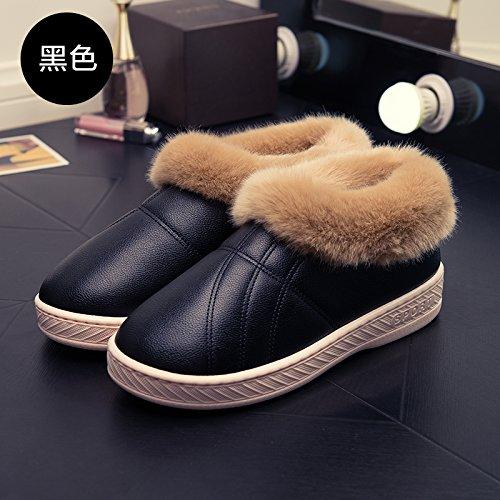 LaxBa Femmes Hommes Chaussures Slipper antiglisse intérieur 36/37 noir