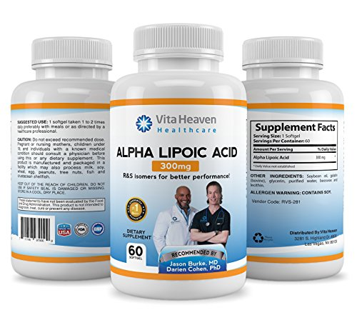Vita Heaven Alpha Lipoic Acid ALA supplement for Reduced Aging and Increased Energy, 300mg, 60 count