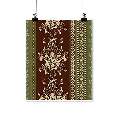 Wall Art Striped Seamless Pattern Brown Floral Wallpaper Damask Background for Hallway Bathroom,20