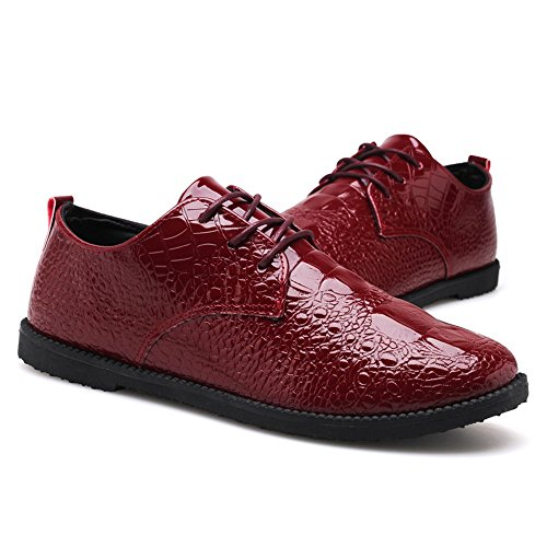Leather up Snakeskin Leather PU Heel Oxford Color Leather Solid Red Flat Shoes Lace Shoes Men's Shoes rrWHTf