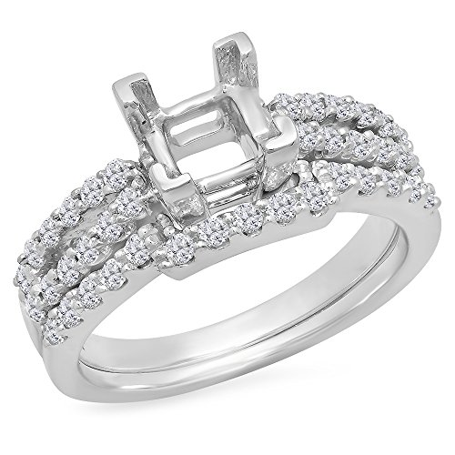 (Dazzlingrock Collection 0.62 Carat (Ctw) 14k Round White Diamond Semi Mount Split Shank Engagement Bridal Ring Set with Matching Wedding Band (No Center Stone), White Gold, Size 7 )