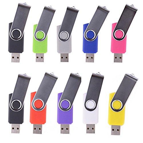 LHN® (Bulk 10 Pack) 4GB Swivel USB Flash Drive USB 2.0 Memory Stick (9 Colors)