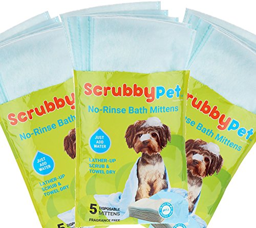 Scrubby Pet No-Rinse Set of 15 On the Go PetBath Mittens, 3 Packages of 5 (Set Rinse)