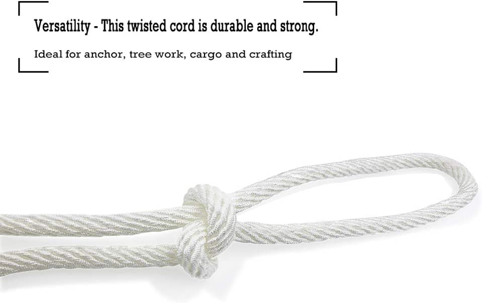 White Pull Rope Cord 1//2 inch x 50 Ft Aoneky Nylon Rope