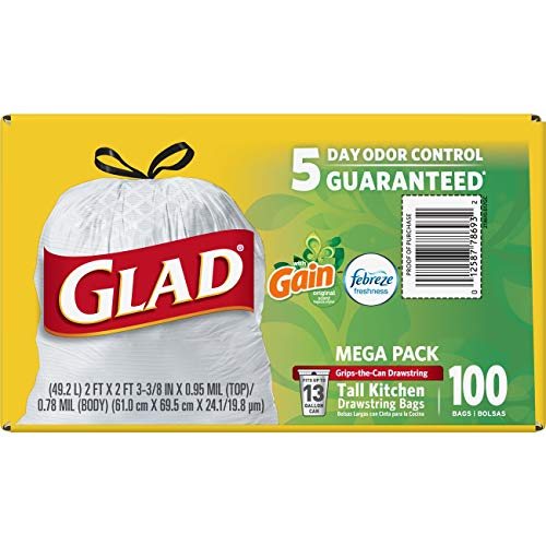 Large Product Image of Glad OdorShield Tall Kitchen Drawstring Trash Bags - Gain Original with Febreze Freshness - 13 Gallon - 100 Count