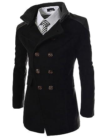 Black tweed double breasted wool coat