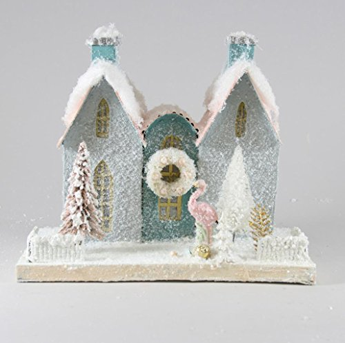 Cody Foster Christmas Village Blue House with Trees, Wreath and Pink Flamingo