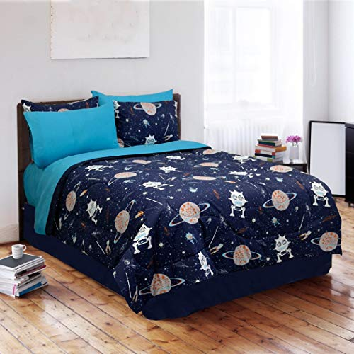 - 4 Piece Kids Sun Moon Stars Comforter Set, Outer Space Galaxy Invaders Space-themed Design with Glow-in-the-dark Stars, Detailed Planet and Rocket Design Print (Twin)