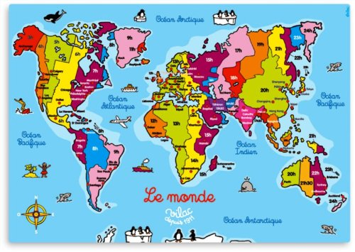 ''Le Monde Magnetique'' Big Magnetic Puzzle featuring Map of the World, great educational tool in French (imported from France).