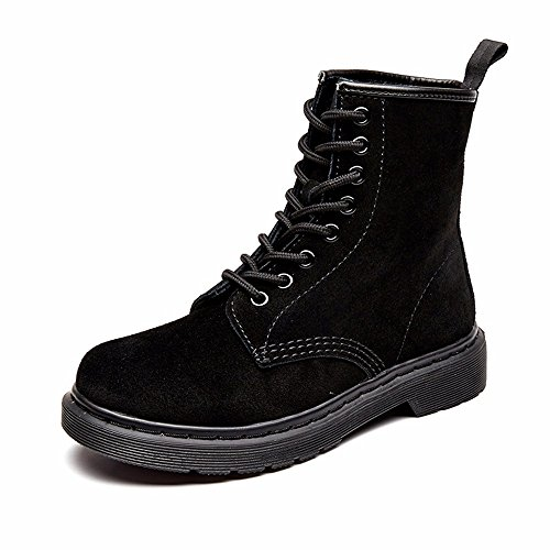 Modemoven Women's Round Toe Lase-up Ankle Boots Ladies Leather Combat Booties Fashion Martens Boots Black Suede US7