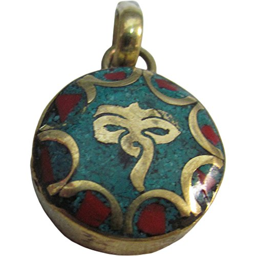 Buddha's Eye Coral Turquoise Inlay Tibetan Gold-Tone Brass Round Small Necklace Pendant w/Gift Pouch