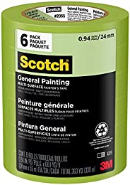 Scotch Painter's Tape, Green Masking Tape for General Painting, 24 mm (6 Rolls) -