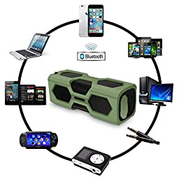 ELEGIANT Portable Wireless Bluetooth Speaker with Built-in Mic - Army Green