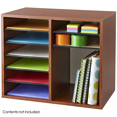 (Safco Products 9420CY Wood Adjustable Literature Organizer, 12 Compartment,)
