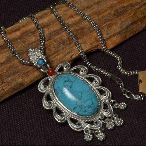 - Tibetan Silver Colored Snake Skin Chain Turquoise Red Coral Amulet Necklace #ID-780