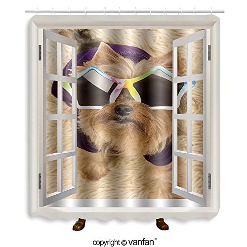 Vanfan designed Windows 92252356 dog in sunglasses Shower Curtains,Waterproof Mildew-Resistant Fabric Shower Curtain For Bathroom Decoration Decor With Shower - Store Near Sunglasses Me