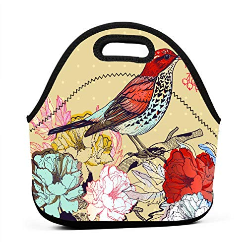 Janeither Floral Backgrounds with Birds Portable Reusable Lunch Bag Waterproof Picnic Tote Insulated Cooler Zipper Box ()