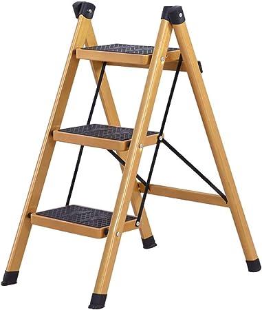 2, 3 Escalera Plegable Plegable Mat Antideslizante de Goma Pasos Ligera Seguro Se Robusta de Acero Fácil de Almacenamiento Ideal for el hogar/Cocina/Garaje 150KG Capacidad MAX: Amazon.es: Hogar