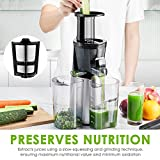 Aicok Juicer Machine Cold Press Juicer Extractor, Slow Masticating Juicer With 3 Strainers for Frozen Desserts, High Nutrient Vegetable Juice and Fruit Jam, Quiet Motor and Reverse Function