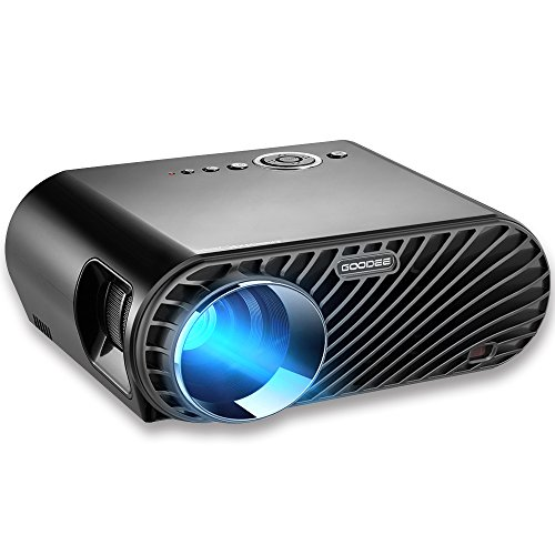 Projector, GooDee Upgraded +35% Lumens LCD Video Projector 180' HD Movie Projector with 1280x800 Native Resolution Support 1080P Fire TV HDMI VGA USB AV Laptop for Home Entertainment Game Party