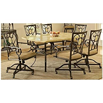 this item brookside 7 pc rectangle dining set w oval back caster chair - Dining Room Table And Chairs With Wheels
