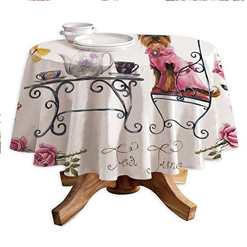 (Yorkie Round Polyester Tablecloth,Yorkshire Terrier in Pink Dress Having a Tea Party Tea Time Butterflies Roses Decorative,Dining Room Kitchen Round Table Cover,70