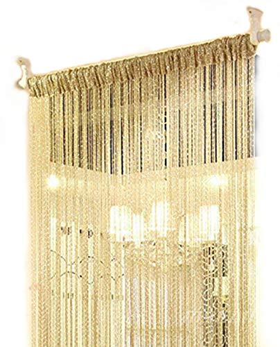 ave split Decorative Door String Curtain Wall Panel Fringe Window Room Divider Blind Divider Tassel Screen Home 100x200centimeter (Champagne18)