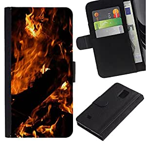 Billetera de Cuero Caso Titular de la tarjeta Carcasa Funda para Samsung Galaxy Note 4 SM-N910 / Fire Dark Black Summer Night Burn / STRONG