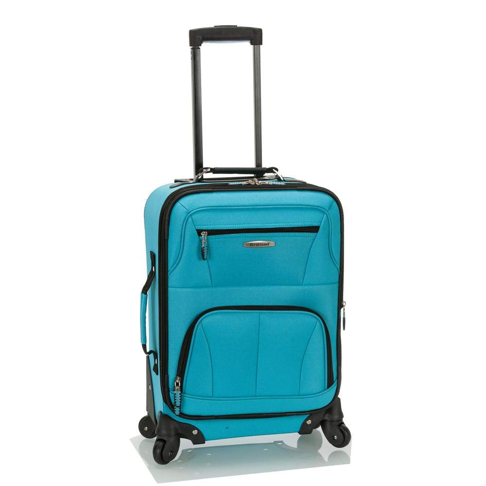 Rockland Luggage 19 Inch Expandable Spinner Carry On, Turquoise