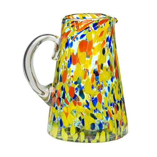 Amici Home 7MCR364R Carnaval Glass Conical Pitcher Imbedded Opaque Beads, Recycled Handblown Artisanal Mexican Tabletop Glassware, 80 Ounce (4 Pint) Capacity, 80 oz, Multicolor