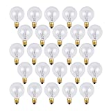 25 c7 bulbs - 25 Pack - Clear G40 Globe Light Bulbs For Patio String Lights Fits E12 and C7 Base 5 Watt G40 Replacement Bulbs For Patio Lights