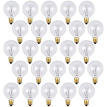 25 Pack   Clear G40 Globe Light Bulbs For Patio String Lights Fits E12 And  C7