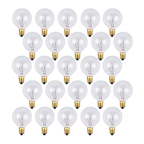 120v Replacement (25 Pack - Clear G40 Globe Light Bulbs For Patio String Lights Fits E12 and C7 Base 5 Watt G40 Replacement Bulbs For Patio Lights)