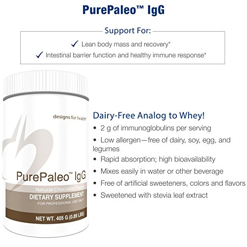 Designs for Health - Chocolate PurePaleo IgG - Protein Powder with BCAAs + Immunoglobulin, 405g by designs for health (Image #1)