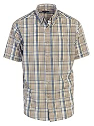 Gioberti Men's Plaid Short Sleeve Shirt, Slate Grayblue, 3x Large