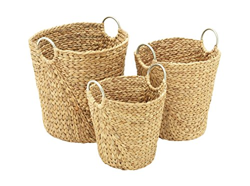 "Deco 79 Coastal Weaved Seagrass Basket S/3 H-41131, 15""/17""/19"" H, Natural Brown Finish, Set of 3 - Color: silver Finish: polished , textured Theme: new traditional - living-room-decor, living-room, baskets-storage - 51f6HVRJynL -"