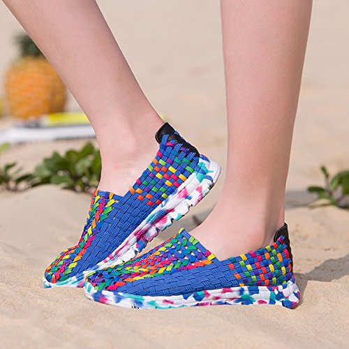 Abby 528 Womens New Fashion Comfort Leisure Sweet Lovely Flat In Tessuto Traspirante Slip On Mocassini Flats Pumps Sneakers Blu