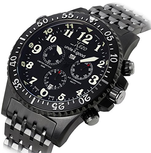 Swiss Army Date Wrist Watch - Xezo Men's Air Commando Swiss-Quartz Pilots Diver Black Gun-Metal Chronograph Wrist Watches. Day, Date.Waterproof 30 Bars