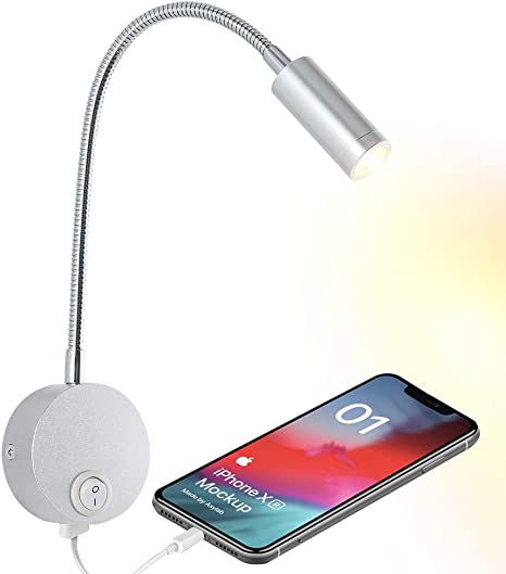 3W LED Bedside Light Fixture Wall Reading Lamp Hidden Switch USB Charging Port