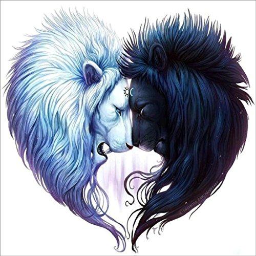 (5D DIY Diamond Painting Embroidery,Lisin 5D Embroidery Lion Heart Paintings Rhinestone Pasted DIY Diamond Painting Cross Stitch Wall Decor Sticks (Multicolor, 30X30cm))
