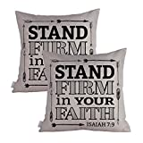 Queenie 2 Pcs Christian Bible Verse Inspirational Quote Bible Calligraphy Decorative Throw Pillow Case Cushion Cover 19.75 x 19.75 Inch 50 x 50 cm (Stand Firm In Your Faith)