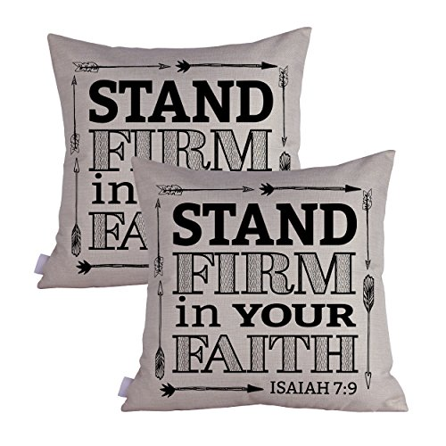 Queenie 2 Pcs Christian Bible Verse Inspirational Quote Bible Calligraphy Decorative Throw Pillow Case Cushion Cover 19.75 x 19.75 Inch 50 x 50 cm (Stand Firm In Your Faith) by Queenie