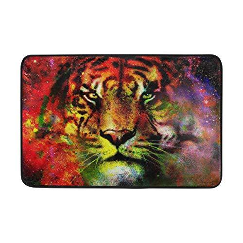 Cvhtr3m Galaxy Animal Tiger Face Art Painting Doormat Home Indoor Door Mat Non-Slip Entrance Mats Rugs for Bathroom/Front Doormat, 23.6x15.7inch ()