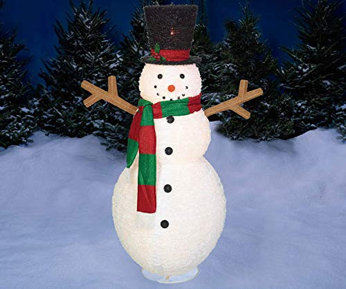 Outdoor Christmas Lighted 60'' Pop Up Snowman Tophat Sculpture Holiday Yard Decor