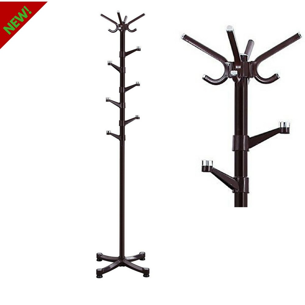 Coat Rack Stand With Hat Hangers Free Standing Metal Coat Rack Saving Coat Hanger With 14 Hooks For Home Office Use Simple Modern Design Assembly Required And E book By TSR