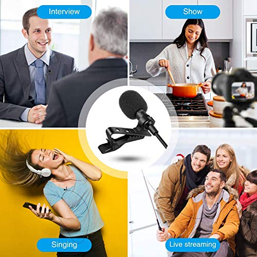 Venganza-Lapel-Coller-Microphone-Voice-Recording-Filter-Mic-for-Recording-Singing-Youtube-on-Smartphones-Black