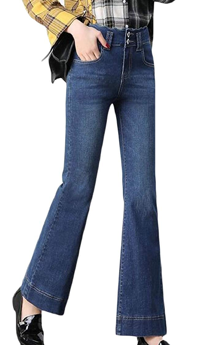 Lutratocro Womens Flare Casual Washed Faded High Rise Stretchy Denim Jeans