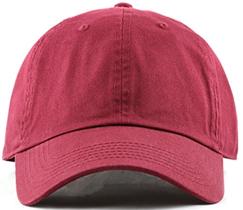 Plain Stonewashed Cotton Adjustable Hat Low Profile Baseball Cap.(Burgundy)